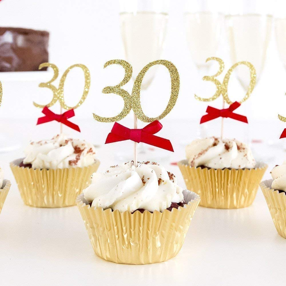 Surprising 30Th Birthday Cupcake Toppers Party Decoration With Custom Age Personalised Birthday Cards Cominlily Jamesorg