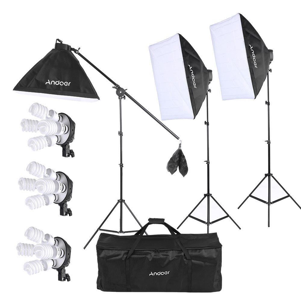 Andoer Studio Photo/Video Softbox Lighting Kit with 12pcs 45W 5500K Bulb 3pcs 4in1 Bulb Socket 3pcs Softbox 3pcs 200cm Light Stand and 55inch Cantilever Stick+ Carrying Bag by Andoer