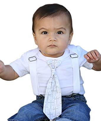7e54e928b93b Noah's Boytique Baby Boys Baptism Christening Suit White Cross Tie Outfit  Newborn