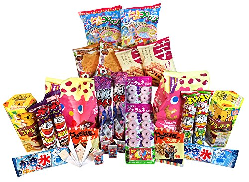 Japanese Snack and Candy Variety Family Pack With English Content List and Handmade Origami