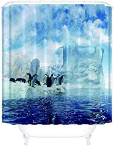 Boyouth Icebergs and Penguins Pattern Digital Print Shower Curtains for Bathroom Decor,Polyester Waterproof Fabric Bath Curtain with 12 Hooks,70x78 Inches,Multicolor