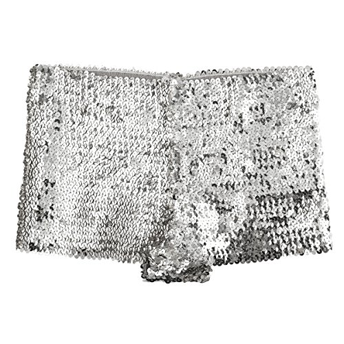 FEESHOW Women's Metallic Hipsters Rave Booty Dance Shorts (Silver Glitter Sequins)