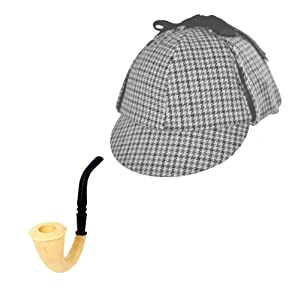 Adult Sherlock Holmes Detective Sleuth Hat With Pipe