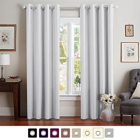 vangao greyish white room darkening draperies thermal insulated solid grommet top window blackout