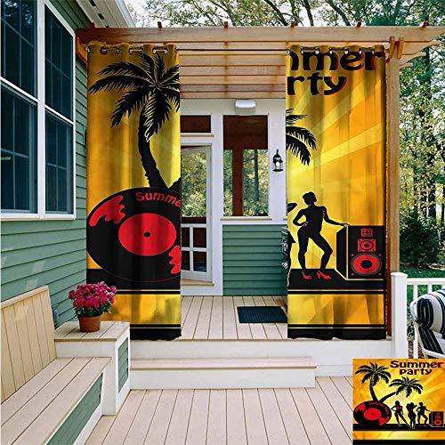 Beihai1Sun Custom Outdoor Curtain,Beach Party Girls Vinyl Record,for Porch&Beach&Patio,W96x72L