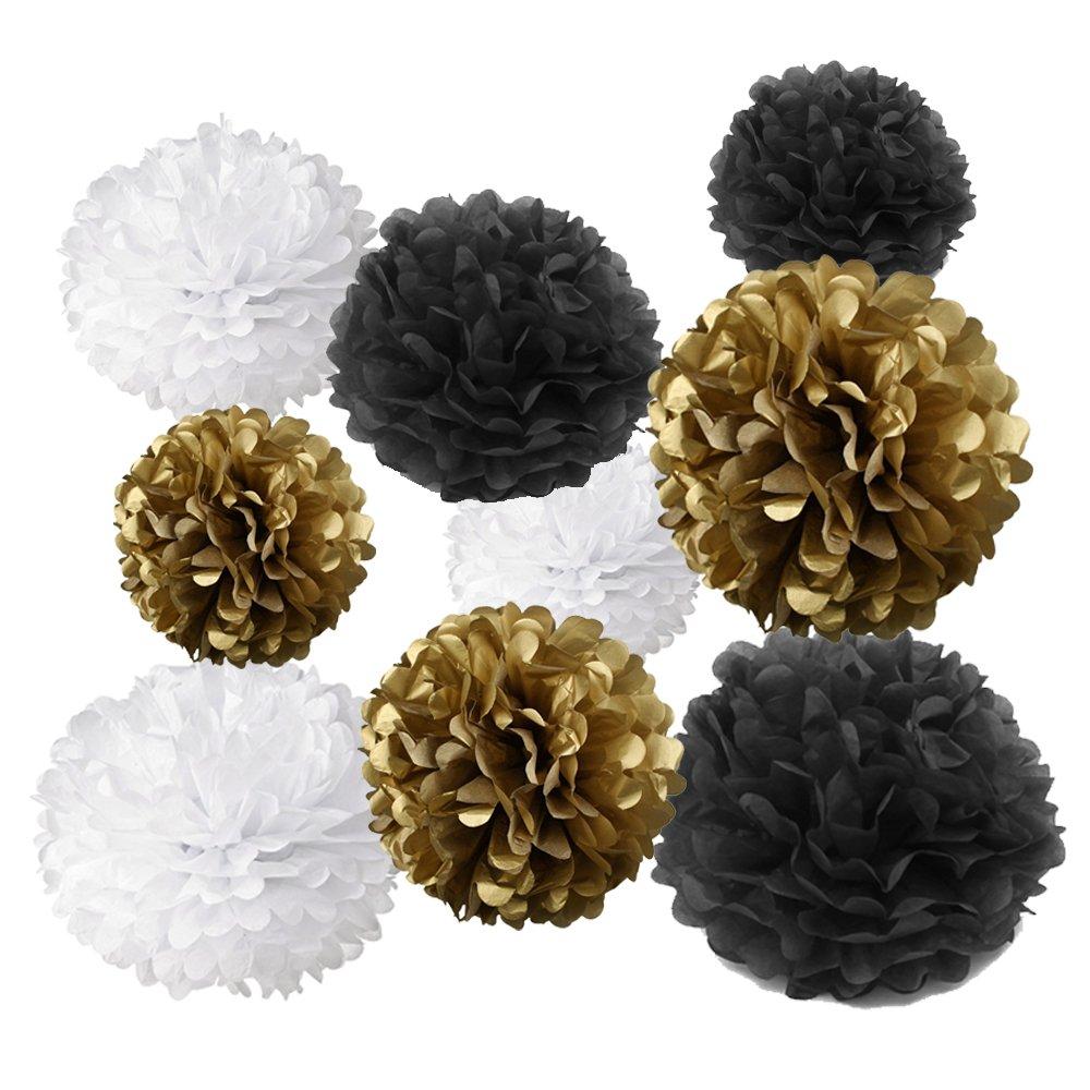 ゴールドFortune 18pcs Tissue Hanging Paper pom-pomsフラワーボールウェディングパーティー屋外装飾ティッシュペーパーポンポン花クラフトキット TPP-MIXGBW  Gold & Black & White B076NVV32H