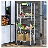 YAONIEO 4-Tiers Heavy Duty Kitchen Storage Bakers Organizer Rack Utility Shelves 18.89'' L x 13.78'' W x 47.6'' H Silver Grey