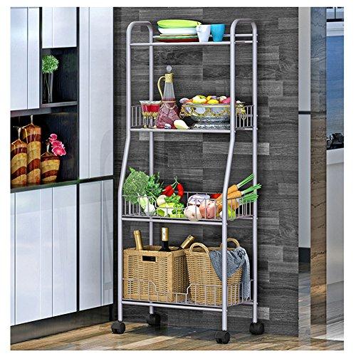 YAONIEO 4-Tiers Heavy Duty Kitchen Storage Bakers Organizer Rack Utility Shelves 18.89'' L x 13.78'' W x 47.6'' H Silver Grey by YAONIEO (Image #8)