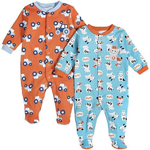 Pekkle Baby 2-Pack Footed Sleeper, Snap, Sleep & Play Onesie Unisex Pajamas (3m - 6m - 9m)