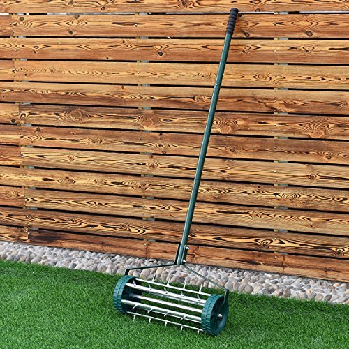 Heavy Duty Rolling Garden Lawn Aerator Roller Home Grass Steel Handle Green New by TimmyHouse