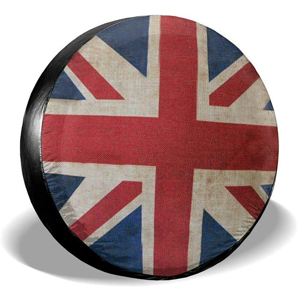 jingqi Polyester Wheel Protector Covers,Universal Fit,Waterproof Spare Tire Cover,The Union Jack British Flag Tyre Cover,Fit For Jeep,Suv,Many Vehicle,Trailer,Rv 17inches