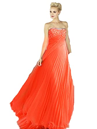 EE1 Coral SIZE 8-12 Evening Dresses party full length prom gown ball dress robe