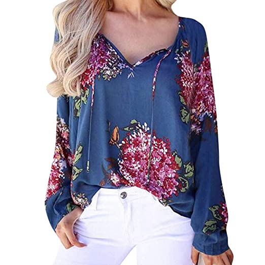 8632cec4 Toraway- Women Fashion Tops Blouse Floral Printing V Neck Shirts Tunic Casual  Long Sleeve T-Shirt at Amazon Women's Clothing store: