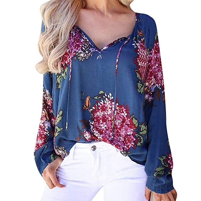 K-Youth Mujer Camiseta Manga Larga con Capucha Floral T-Shirt 2018 Otoño Invierno