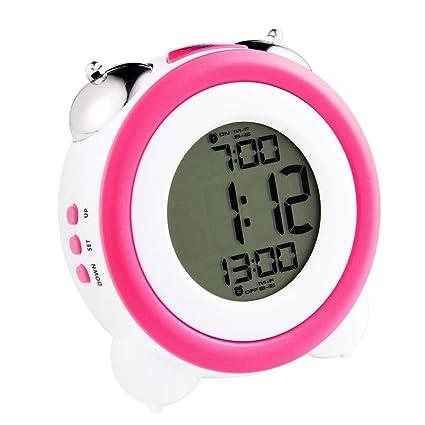 HzxlT Reloj Despertador Doble Campana Redondo Pequeño Mudo Reloj Digital electrónico Decoración de Mesa de Escritorio