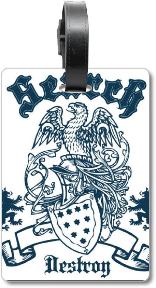 Etiqueta de identificación para Maleta de Caballeros Medievales de Europa con Emblema de águila de Destroy