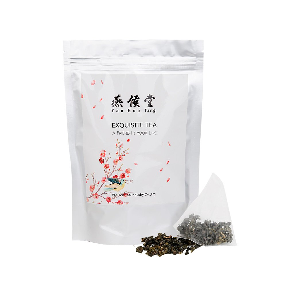 Yan Hou Tang - Organic Taiwan Green Oolong Tea bags - 20 Counts Full Loose Leaf Gunpowder Formosa High Mountain Wulong Fragrance Flavor Taste for Detox Weight Loss relaxation