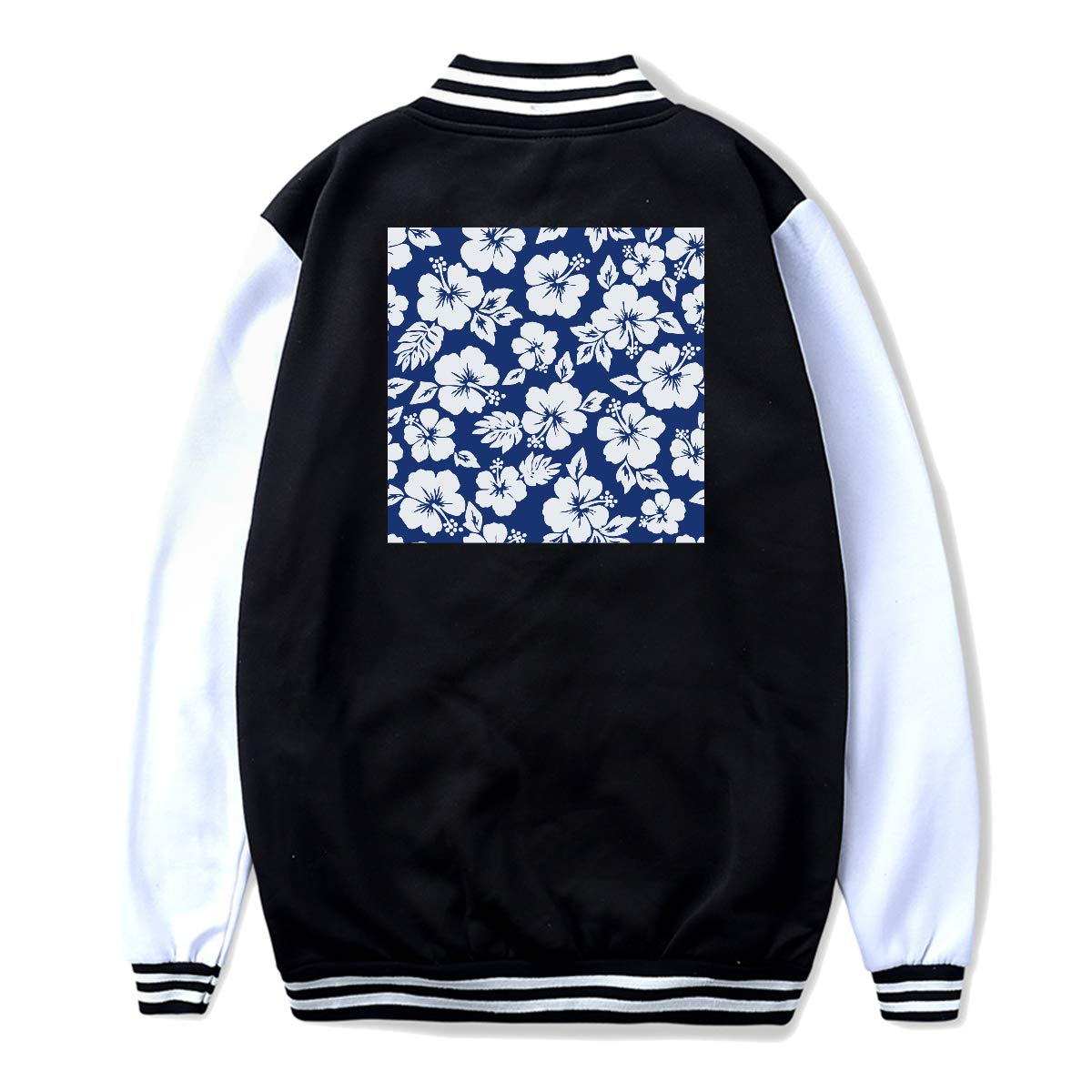 Back Print NJKM5MJ Unisex Youth Baseball Uniform Jacket Hibiscus Flowers Seamless Pattern Hoodie Coat Sweater Sweatshirt