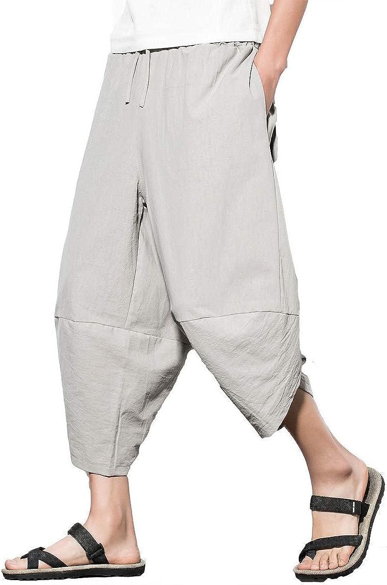 FTIMILD Mens Casual Linen Pants Lightweight Baggy Beach Yoga Wide Leg Pants Trousers