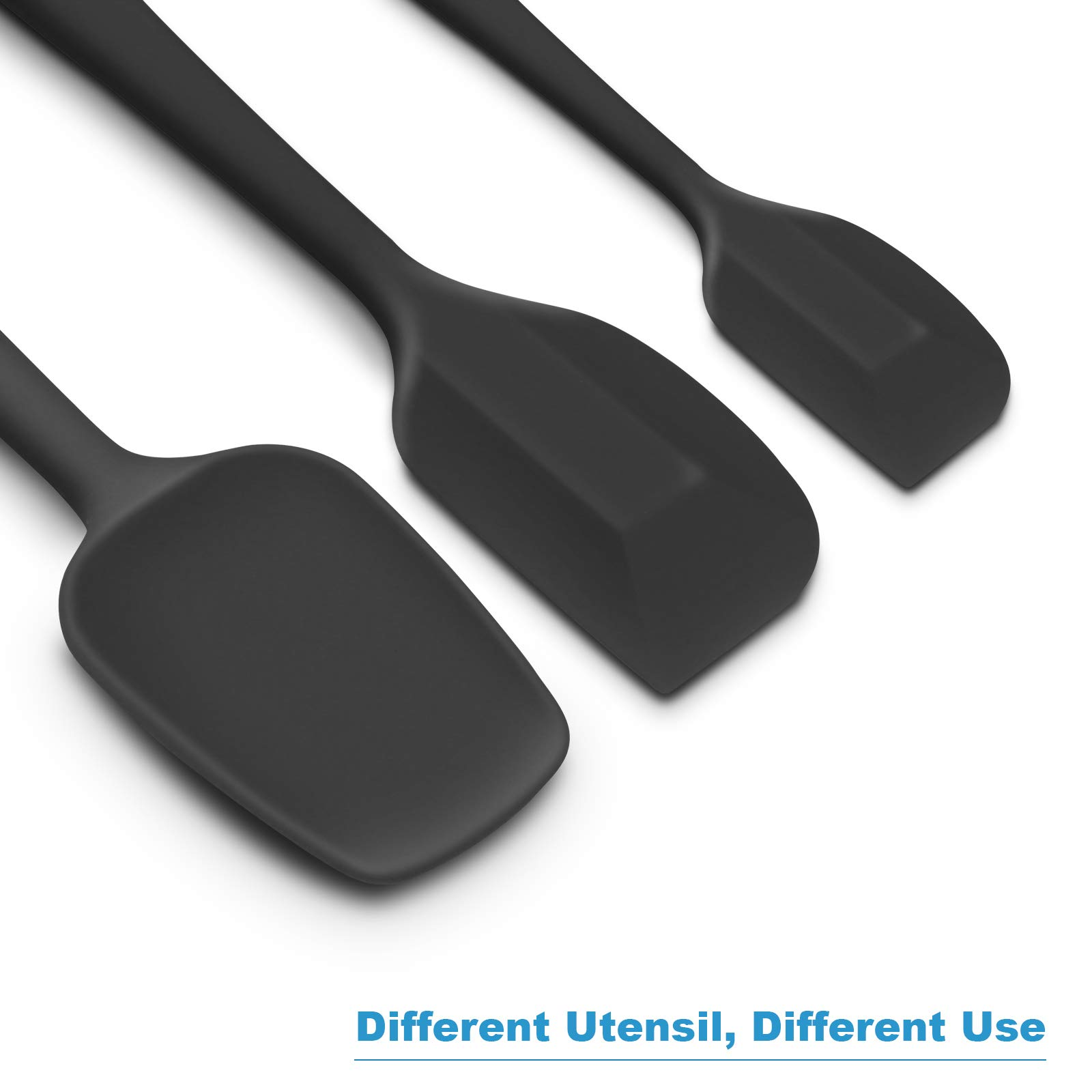Silicone Spatula 3-piece Set, High Heat-Resistant Good Grips Spatulas, Non-stick Rubber Spatulas with Stainless Steel Core (Black) by ALLWIN-HOUSEWARE W (Image #3)