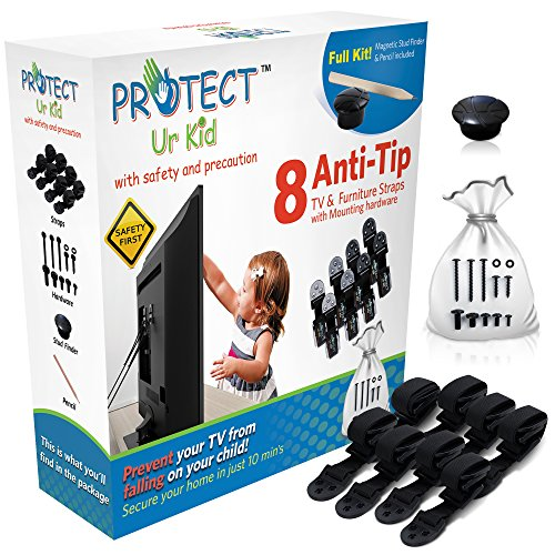 Anti Tip Furniture Anchor & TV Straps w/Ultra-Strong Mounting Hardware & Safety Stud Finder Locks-in Heavy Objects for Instant Earthquake, Child & Baby Proofing (Black, 8 Straps + Stud Finder)