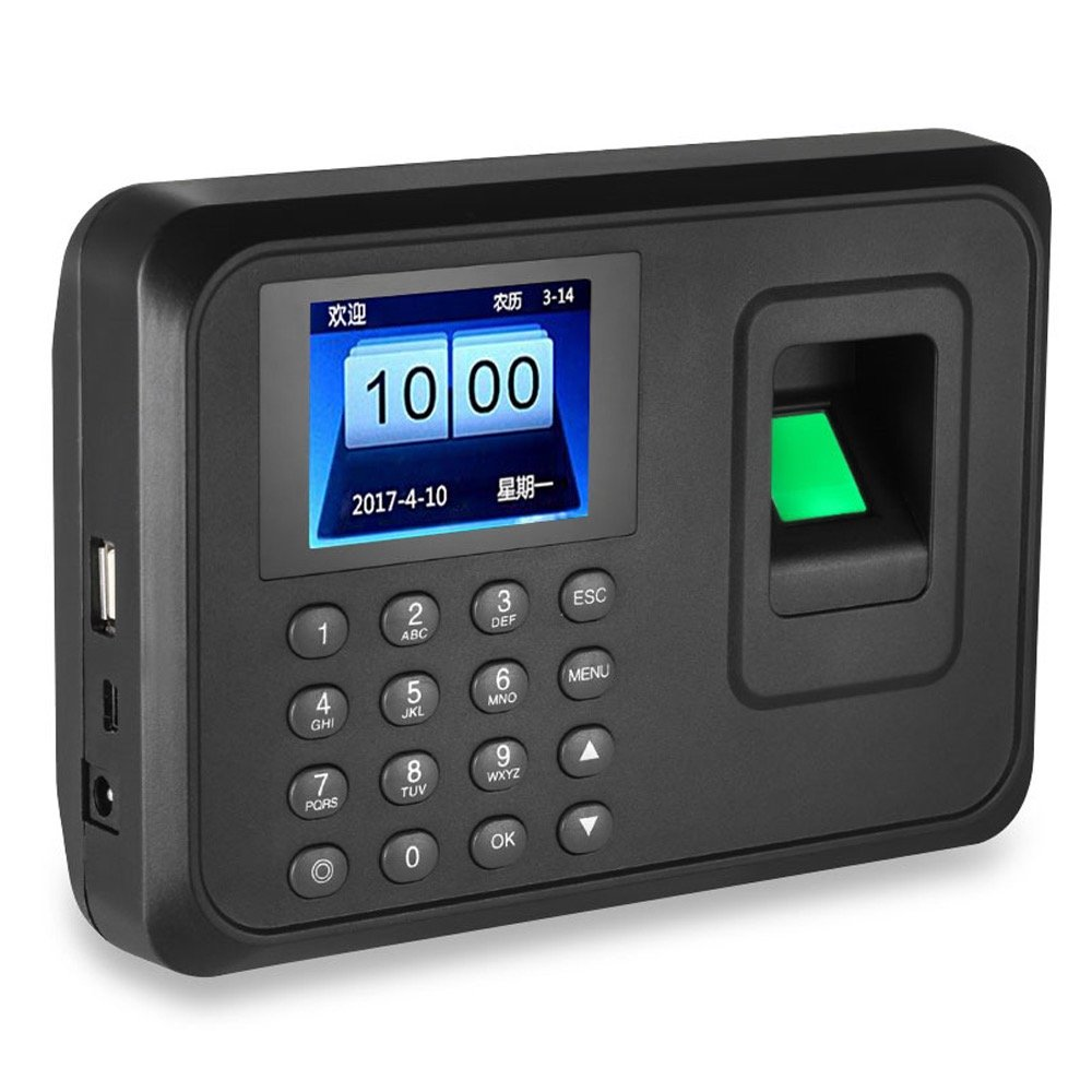 LIBO Biometric Fingerprint Time Attendance Machine Fingerprint Time Clock System, 2.4inch Screen, Support USB Record, 600 User Capacity