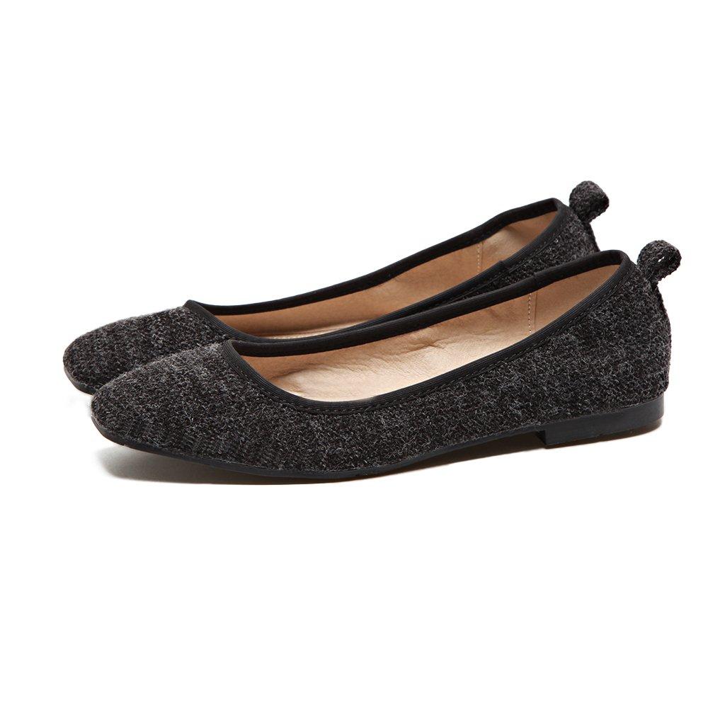 Xue Qiqi Court Schuhe Weiblicher Ineinander greifensatz greifensatz Ineinander der Flachen Schuhe der Flachen Flachen Schuhe der Flachen Flachen Schuhe der Niedrigen Schuhe schwarz 43687c