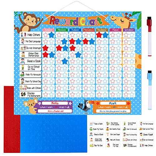 TOYMYTOY Reward Chore Chart Magnetic Behavior Chart Board - 24 Magnetic Chores, 200 Magnetic Stars & 2 Color Dry Erase Markers & Storage Bag- Responsibility Chart for Wall or Refrigerator,16 x 13 inch