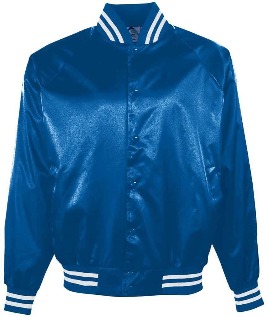 Augusta Sportswear メンズサテン野球ジャケット/ストライプ柄。 B00ID7JEMC M|ロイヤル/ホワイト ロイヤル/ホワイト M