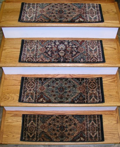 "152938 - Rug Depot Traditional Oriental Non Slip Carpet Stair Treads - Set of 13 Treads 26"" x 9"" - Applied with Non-Slip Tabs - Multi Background - Rizzy Bellevue BV3199 Multi"