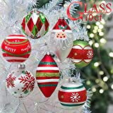 Valery Madelyn 10ct Classic Collection Splendor Red Green Silver and White Christmas Ball Ornaments, Glass Blown Ornaments, 3.15inch-4.72inch,Themed with Tree Skirt(Not Included)
