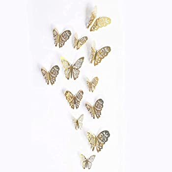 24-Piece 3D Butterfly Wall Stickers (Gold)