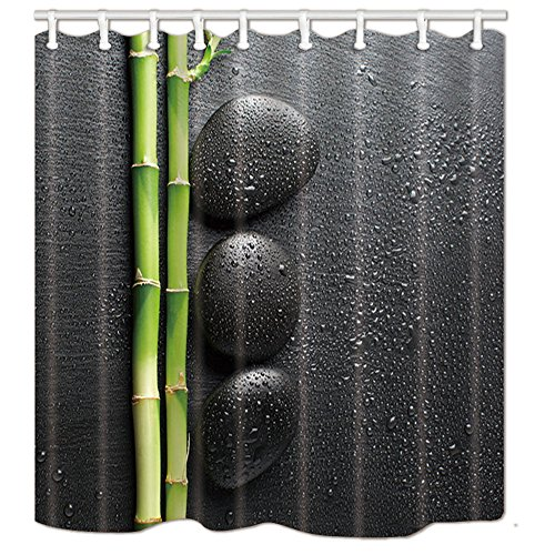 NYMB Spa Decor, Zen Garden Theme Stone and Bamboo on Black Shower Curtain, Mildew Resistant Polyester Fabric Bathroom Decorations, Bath Curtains Hooks Included, 69X70 inches, Green (Multi21)