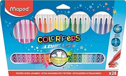 Maped Color Peps Long Life - Pack de 24 rotuladores en estuche de cartón, Multicolor: Amazon.es: Oficina y papelería