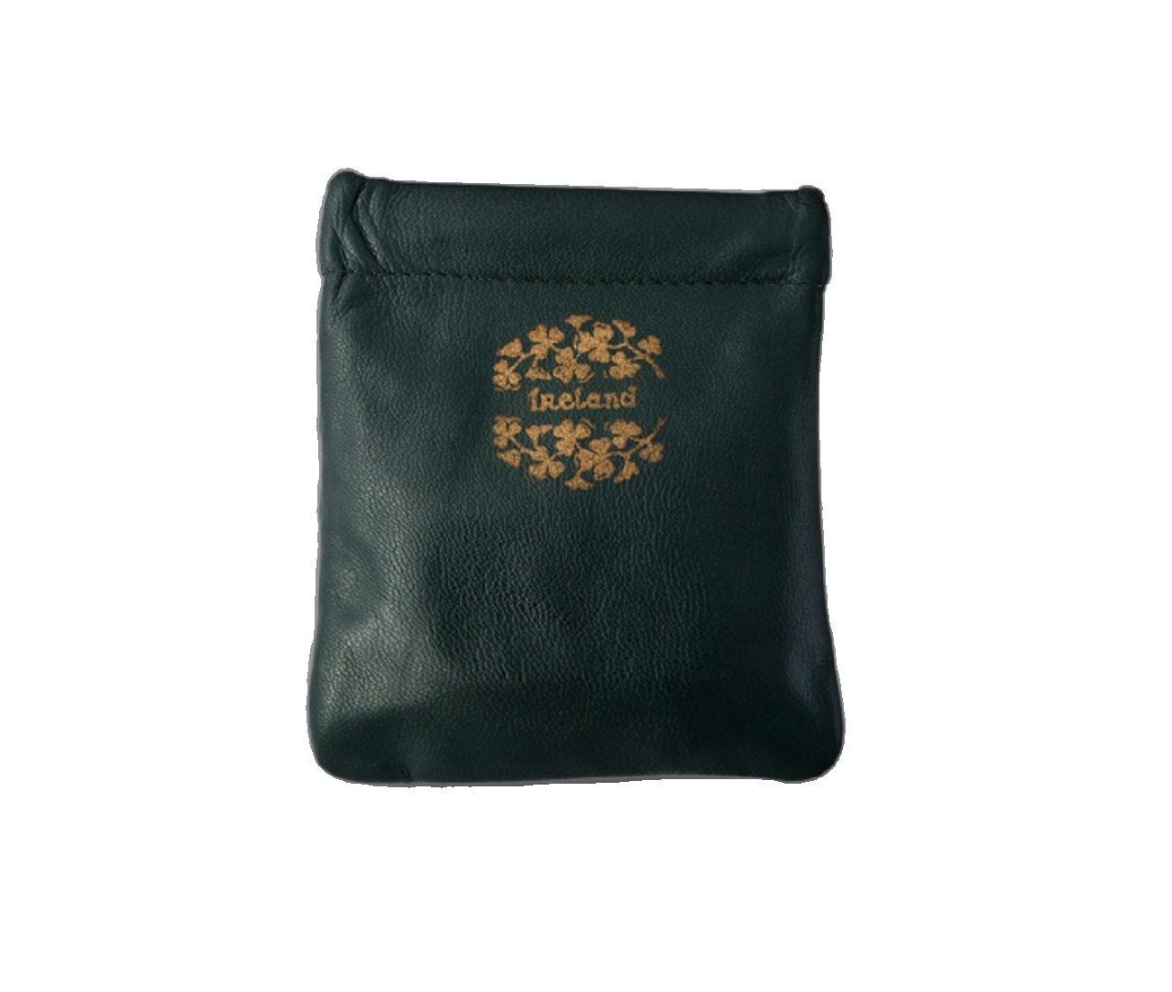 Celtic Leather Coin Purse Ireland & Shamrocks Squeeze Style Irish Made