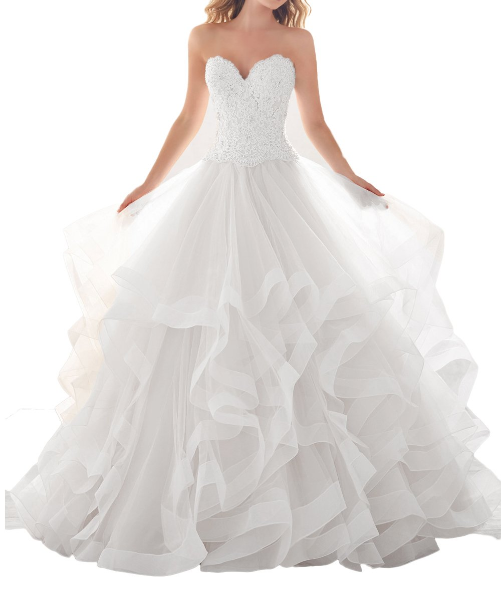 AngeLa Ball Gown Sweetheart Wedding Dresses Sweep Length Layer Lace Bridal Gowns ANS100