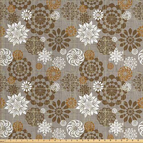 Ambesonne Floral Fabric by The Yard, Ornamental Flower Design Combinations Styles Diagonal Pattern, Decorative Fabric for Upholstery and Home Accents, Sepia Amber Grey