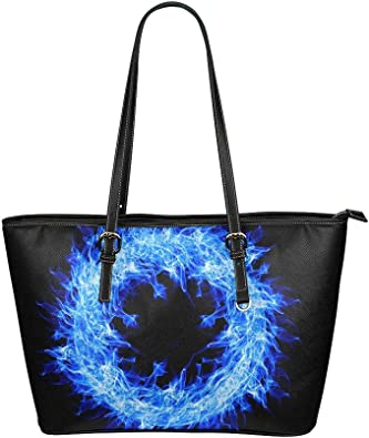Amazon.com: Mens Totes Ring Of Fire Circle Blue Fire Flame Artwork Hot  Leather Hand Totes Bag Causal Handbags Zipped Shoulder Organizer For Lady  Girls Womens Cute Bags For Women: Shoes