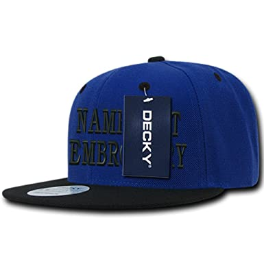 7fc50b3d3ff Custom Embroidery Personalized Name Text Flat Round Bill Baseball Hat  Snapback Cap - Blue Black