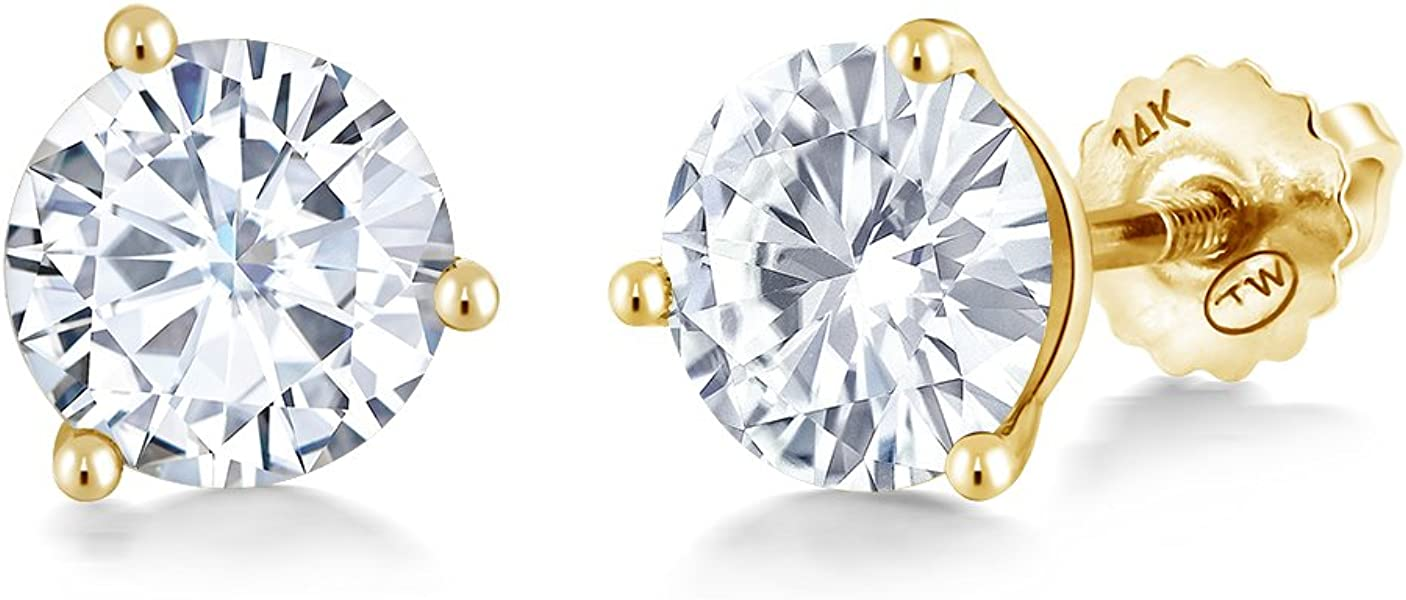 9cea92219 Charles & Colvard Forever Classic 6mm 1.60cttw DEW White Created Moissanite  14K Yellow Gold Screw