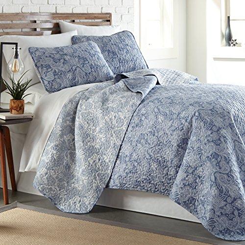 - Southshore Fine Linens - Perfect Paisley Collection - Lightweight, Reversable 3-Piece Quilt Set, Blue, Full/Queen