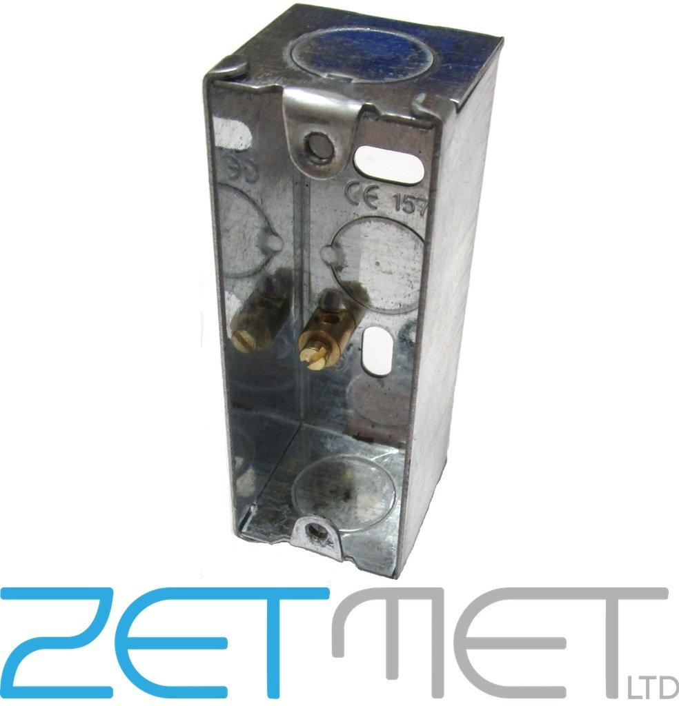 Single 1 Gang 25mm Architrave Metal Pattress Electrical Wall Back Box Europower