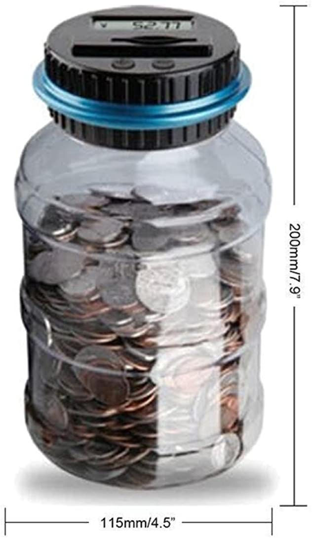 JSPOYOU Clear Digital Piggy Bank Coin Savings Counter LCD Counting Money Jar Change Gift Black