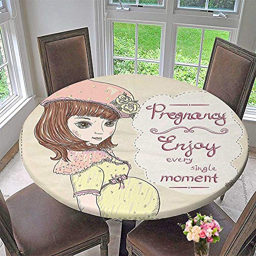 Mikihome Luxury Round Table Cloth for Home use Pregnancy Enjoy Every Single Moment Clipart Pregnant Woman Dress Hat for Buffet Table, Holiday Dinner 43.5