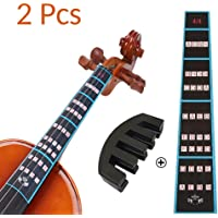 VCOSTORE Violin Mute and Finger Guide Pack, 4/4 Fingerboard Sticker Fret Guide Label Chart and Rubber Practice Silencer Accessories for Beginners