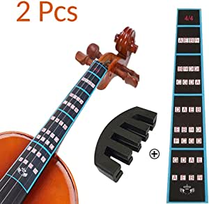Violin Mute and Violin Finger Guide Pack, 4/4 Fingerboard Sticker Fret Guide Label Chart and Rubber Practice Silencer Accessories for Beginners