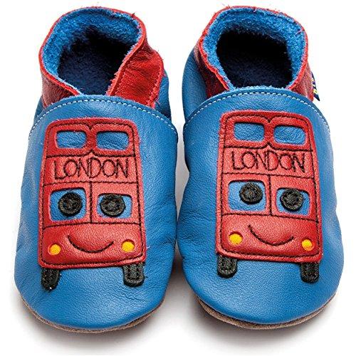 Inch Blue Girls Boys Luxury Leather Soft Sole Pram Shoes–Bus Blue