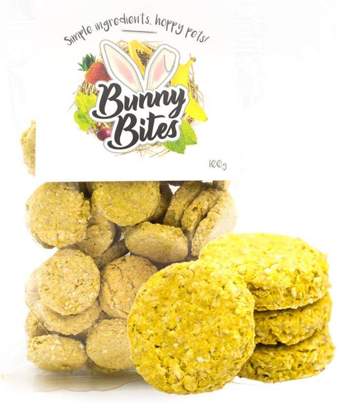 Bunny Bites Orange & Zanahoria   Hecho a mano   Golosinas para mascotas a base de plantas 100 g   Conejos, conejillos de indias, hámsters