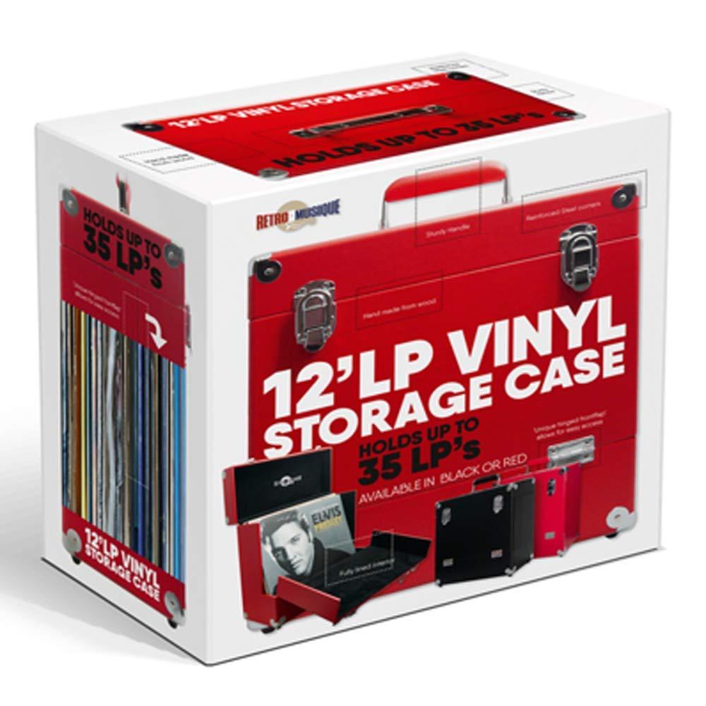 Retro Musique 12 pulgadas de Vinilo LP Caja de Almacenamiento Con tapa plegable /Única Frente Para un mejor Acceso a su LPs Rojo