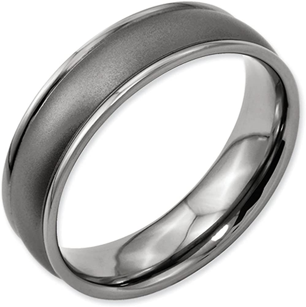 6mm Grooved Flat Pipe Cut Black Enamel High Polish Finish Titanium Wedding Band